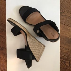 Merona Black and Tan Sandal Wedges Size 10
